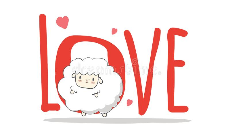 Love,creative hand drawn card Happy Valentine`s Day,cute cartoon,sheep, greeting card greeting card with heart card vector,. Elements,love,flyers, invitation vector illustration