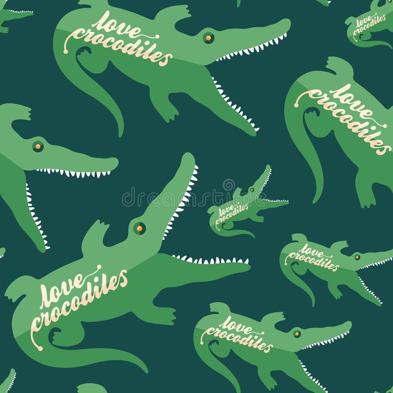 Love crocodiles flat icon seamless pattern. vector illustration