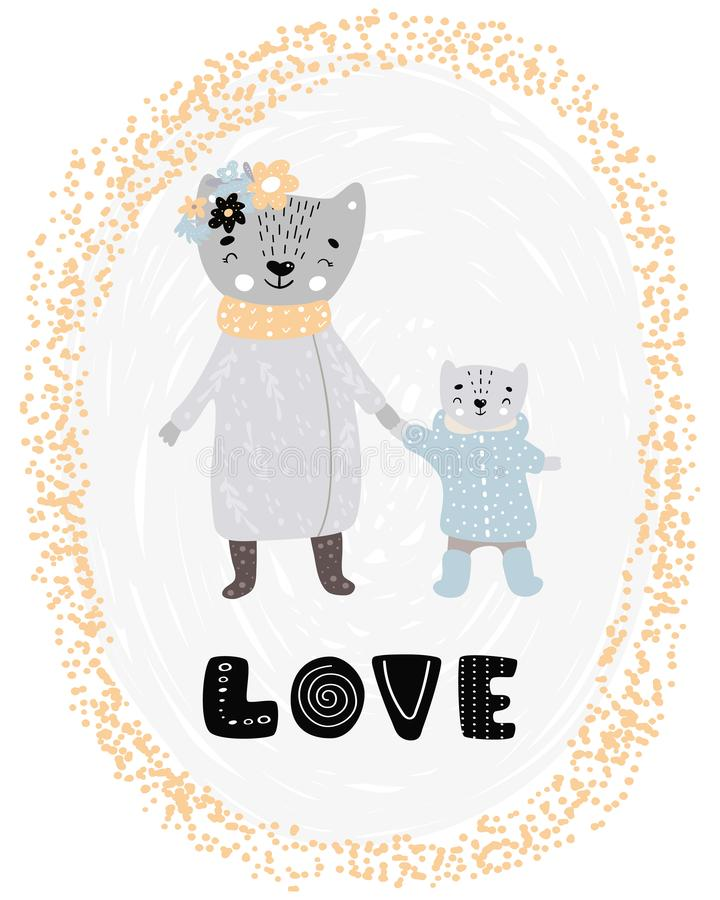 Love - Cute hand drawn nursery poster with cartoon characters animals mother Cat and little son kitten and lettering in royalty free illustration