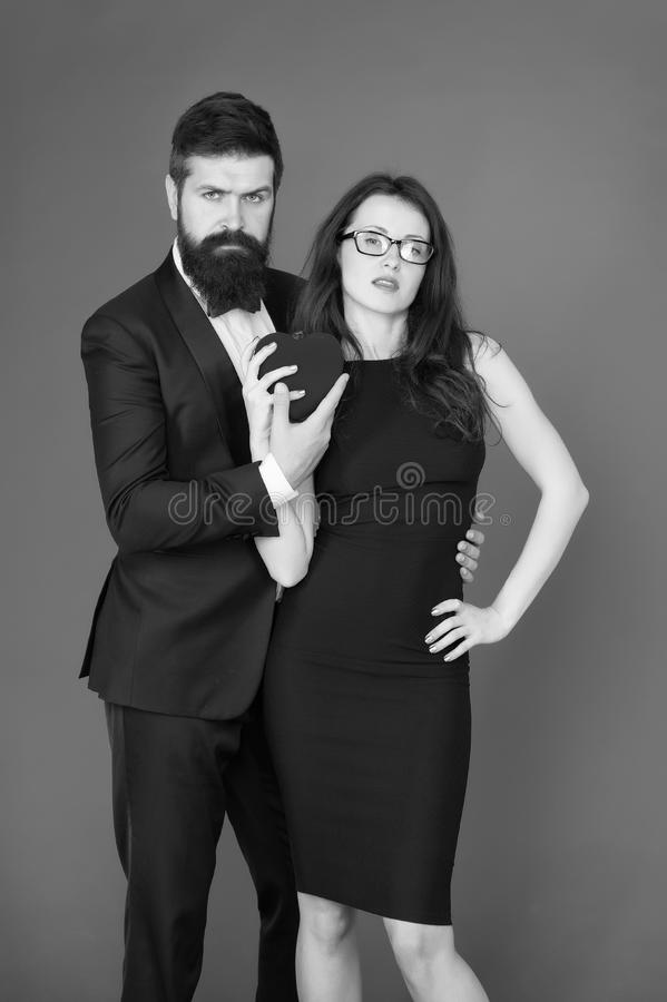 Love date and romance. tuxedo man and elegant woman at formal party. sexy couple in love. valentines day heart. bearded. Love date and romance. tuxedo men and royalty free stock images