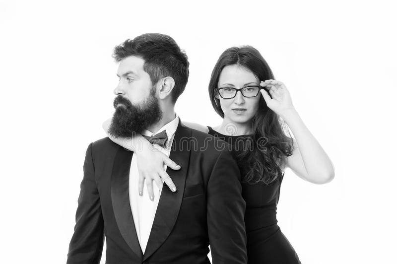 Love date and romance. valentines day. bearded businessman with lady. tuxedo man and elegant woman at formal party. sexy. Love date and romance. valentines day stock photos