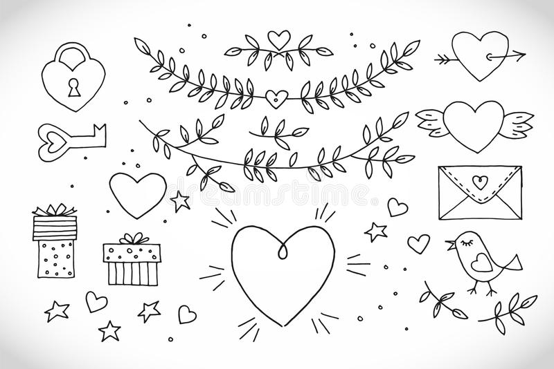 Love decorative vintage elements on white background. Hand drawn collection with heart, wings, branch with leaves, bird stock photos