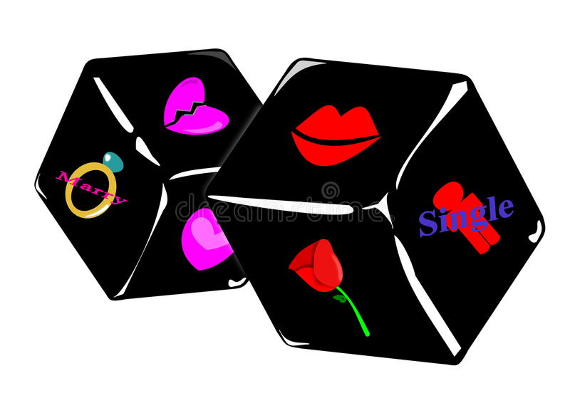 Download Love Dices, Uncertainty Of The Love Stock Illustration - Image: 32595921
