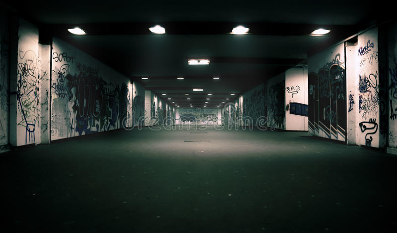 Love did tear us apart. Tunnel at night in Zagreb, Croatia royalty free stock photo