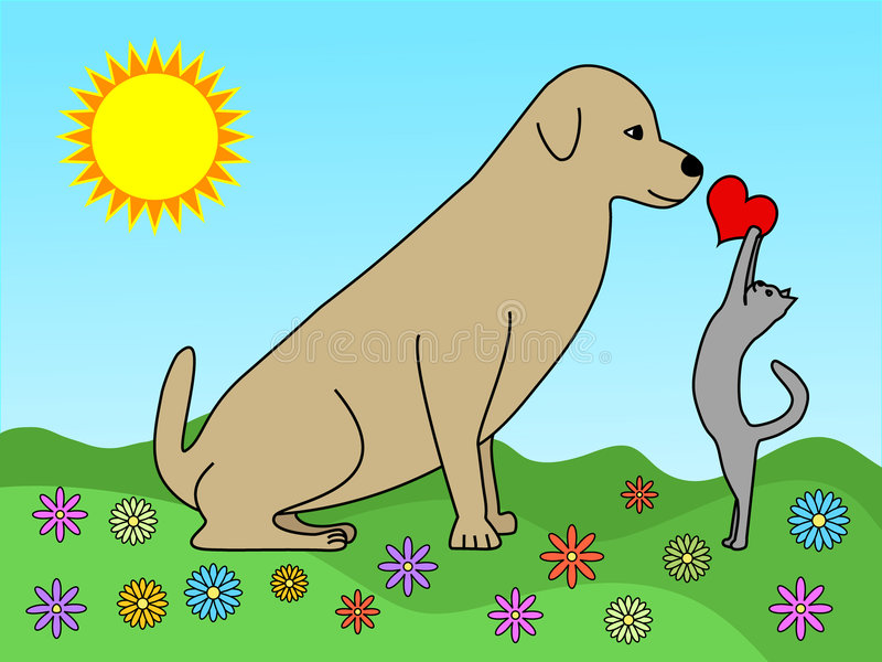 Love between dog and cat vector illustration