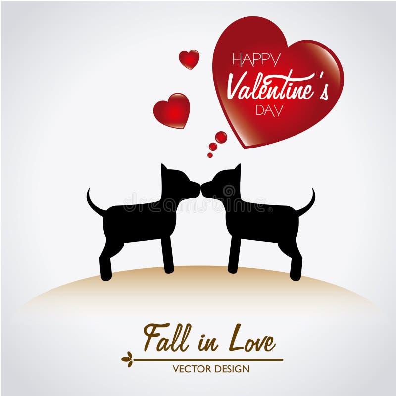 Love dogs vector illustration