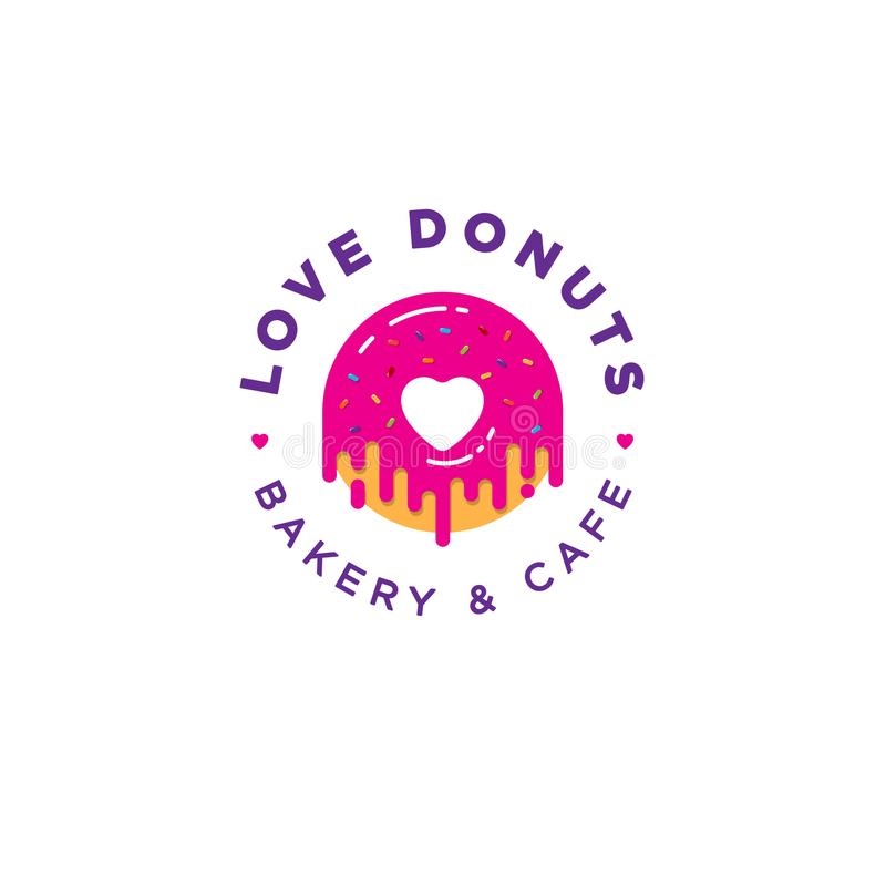 Love Donut logo. Bakery and donuts cafe emblem. Pink Donut with heart logo. stock illustration