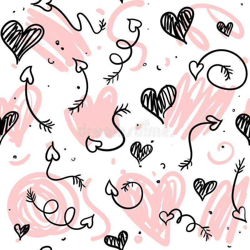 Love doodle background with hearts and arrows. royalty free illustration
