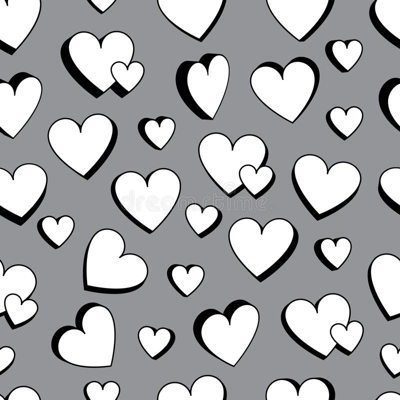 Love double love black and white 3d seamless pattern royalty free illustration