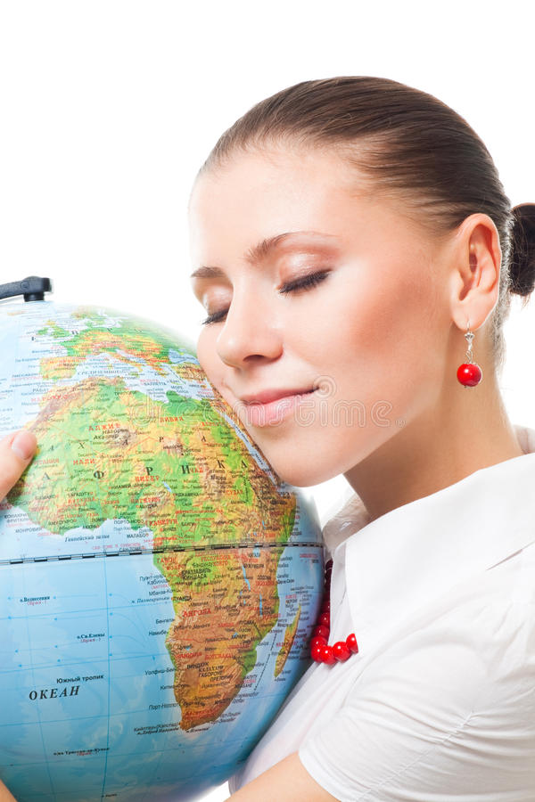 Love the earth. Beautiful woman show love to earth holding globe and thing about ecology stock image