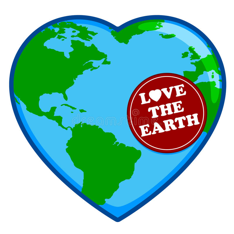 Love The Earth. An illustration of a heart shaped globed in celebration of Earth Day royalty free illustration