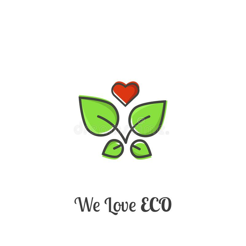 We love eco! This illustration consists of four leaves and a heart stock illustration