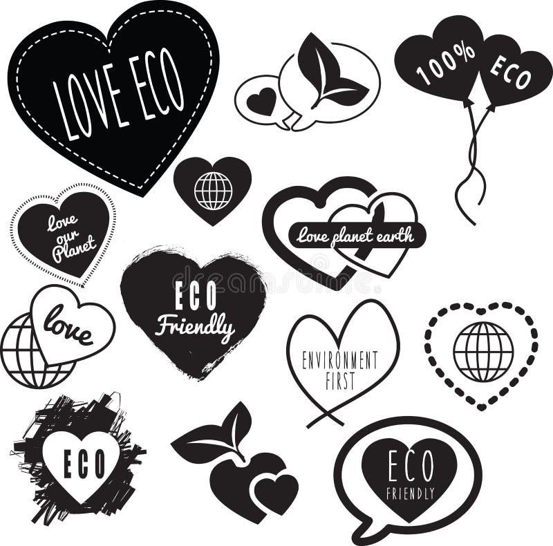 Love eco series of logos royalty free illustration