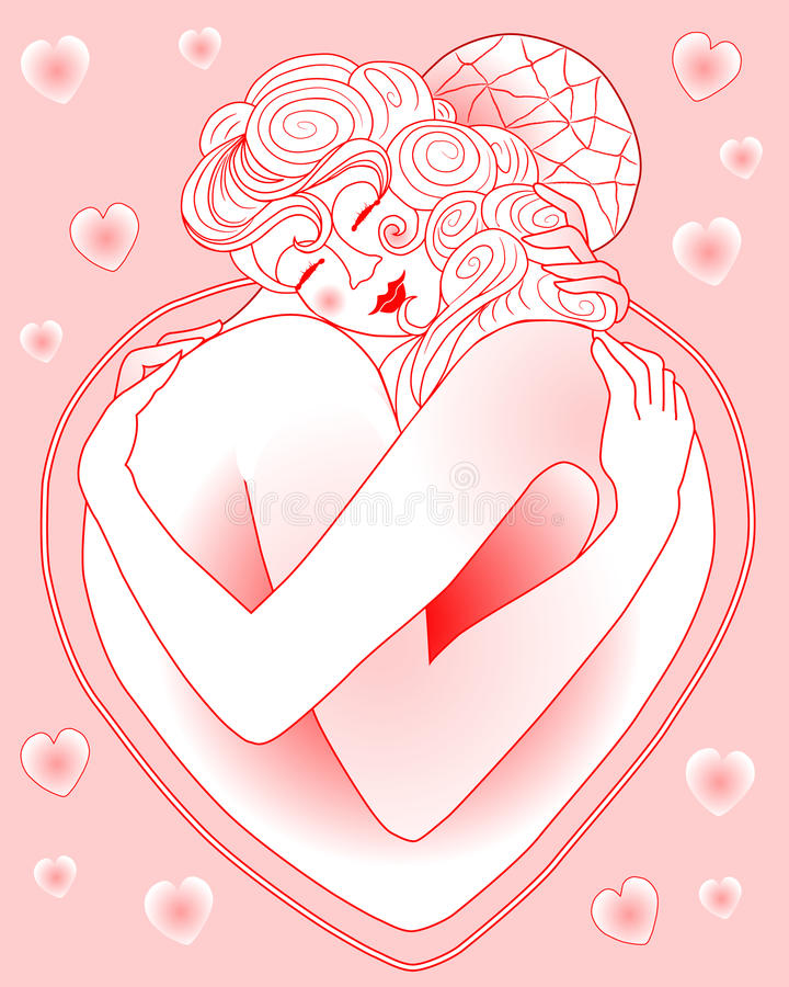Download The Love Embrace stock vector. Image of abstract, celebrate - 17956613