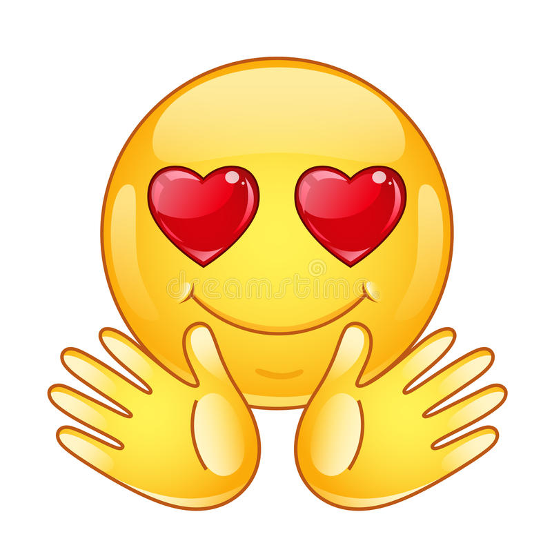 In love emoticon with open hands. vector illustration