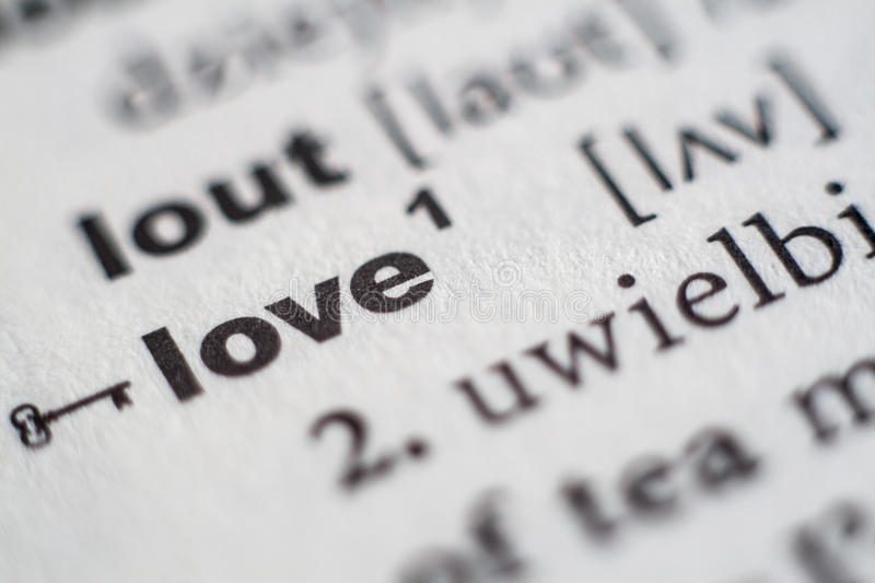 Love entry in dictionary. Close up of love entry in dictionary stock images