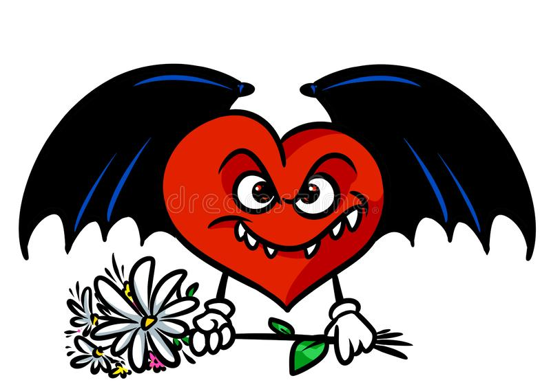 Love evil surprise bouquet flowers Red heart black wings character cartoon. Illustration isolated image royalty free illustration