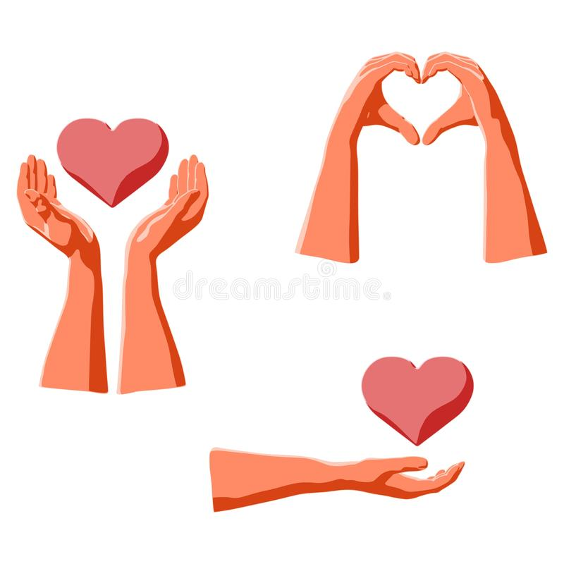 Love expression by human hands and holding heart shape vector illustration
