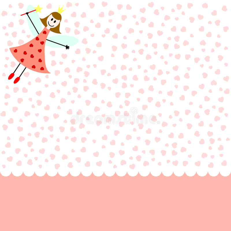Love fairy. Card pink card with fairy girl and hearts stock illustration