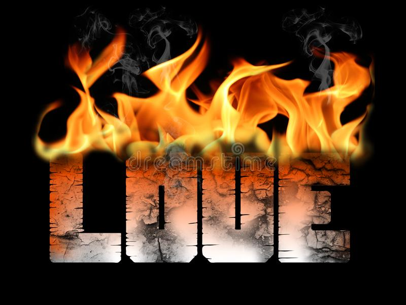 Love on Fire Text Flames stock illustration