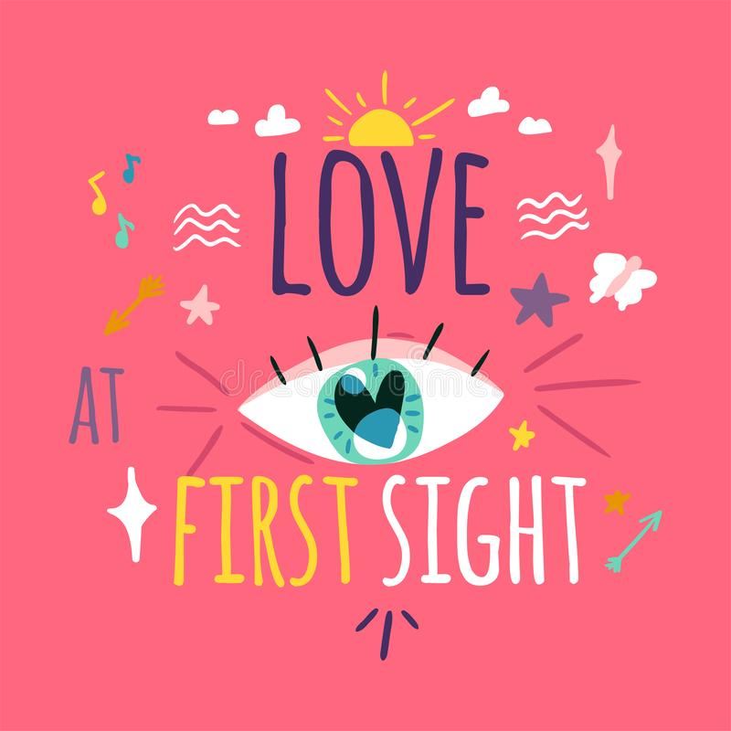 Love at first sight greeting card layout royalty free illustration