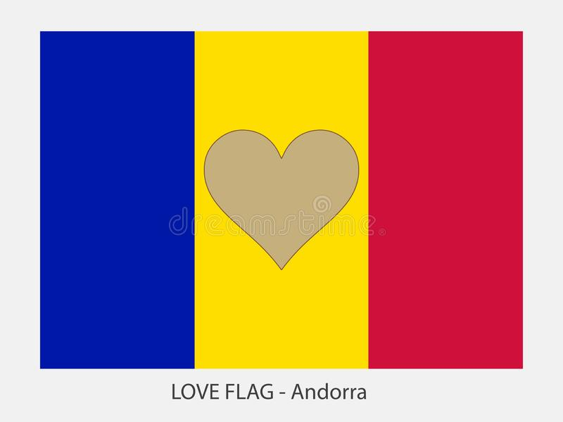 Love flag Andorra. I love Andorra, vector flag with heart sign symbolizing love for that country stock illustration