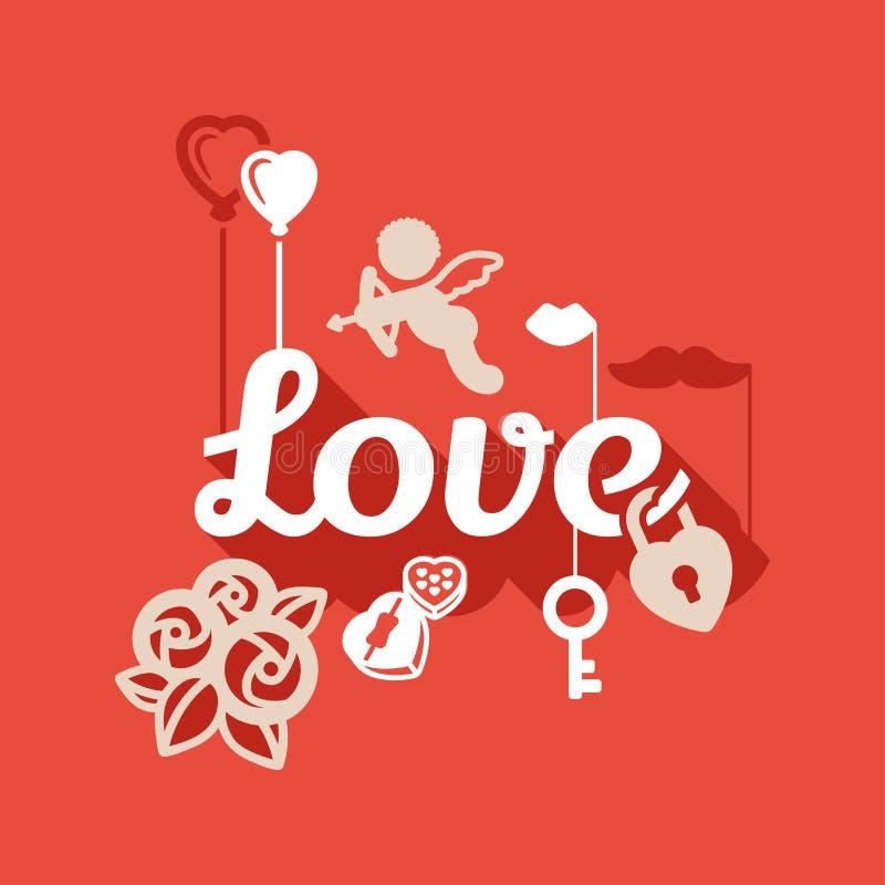 Download Love flat design stock vector. Image of flower, love - 37500357