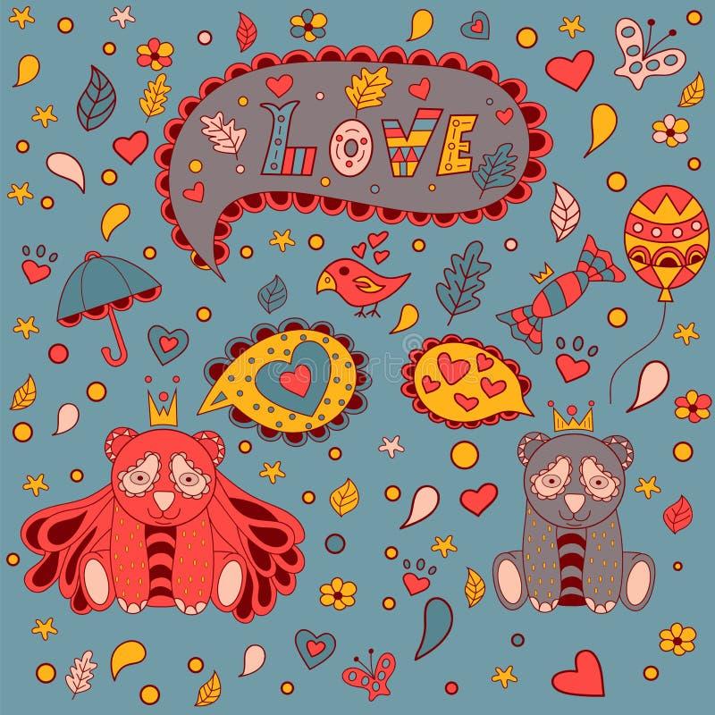 Love the floral frame, vector doodle . Greeting card. stock illustration