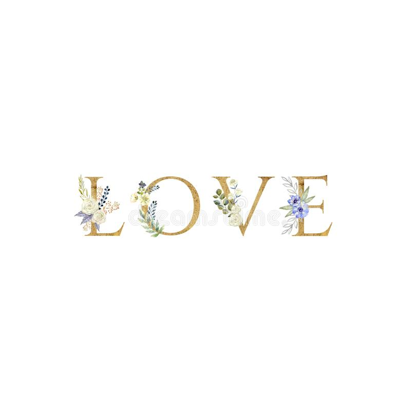 Love. Floral romantic lettering phrase isolated on white background. Valentine`s day and wedding illustration. Gold letters vector illustration