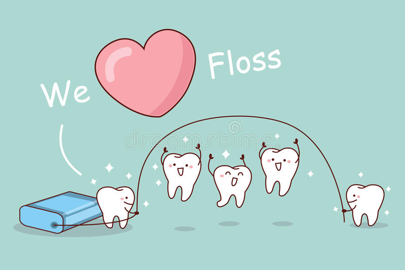 We love floss. Cartoon tooth with floss, great for dental care concept royalty free illustration
