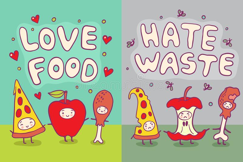 Love Food and Hate Waste Illustration. Love Food and Hate Waste ecological illustration with funny characters stock illustration