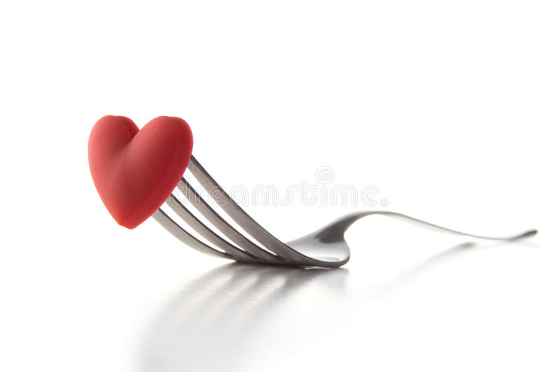 Love Food II. Concept image for I Love Food, Wedding Breakfast or Valentine's Day dining, isolated on white. Copy space royalty free stock image