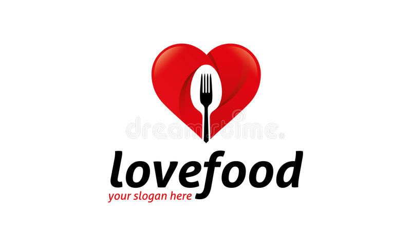 Love Food Logo. Minimalist and modern food logo template. Simple work and adjusted to suit your needs royalty free illustration