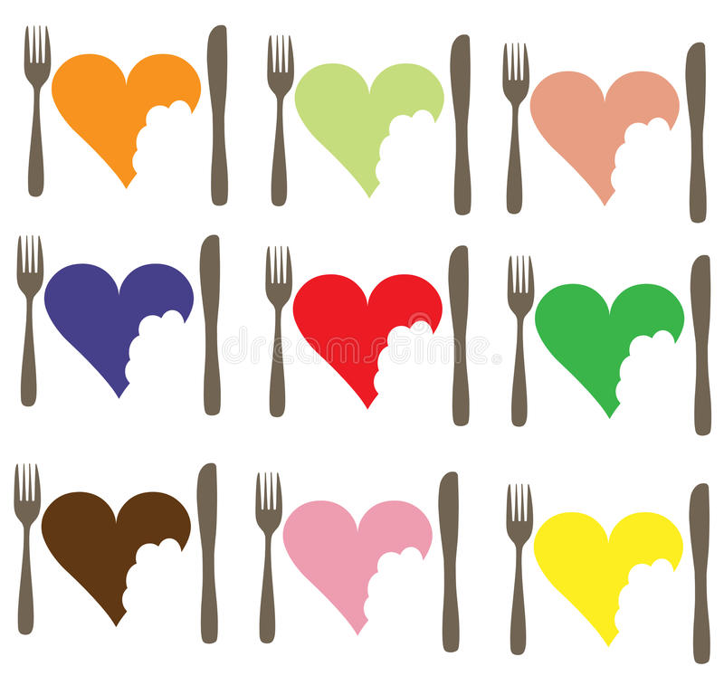 Love food Love Heart. A set of icons in different colors depicting love of food stock illustration