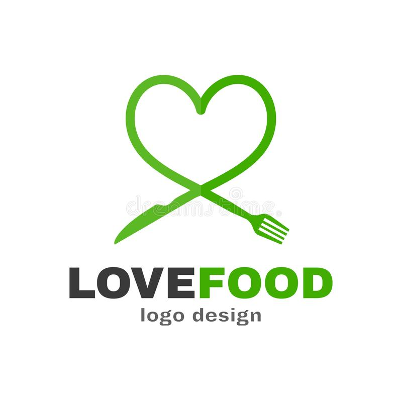 Love food modern style logo design. A spoon and a fork in the shape of a heart. Vector flat illustration icon. on white background royalty free illustration