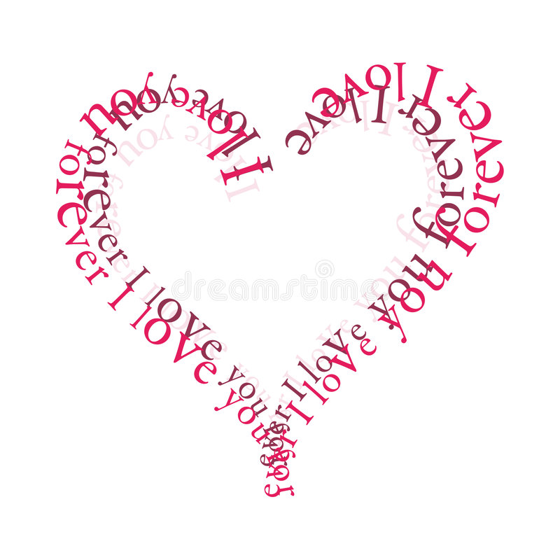 Love Forever. Typography Love Heart with sign I love you forever (vectorized document royalty free illustration