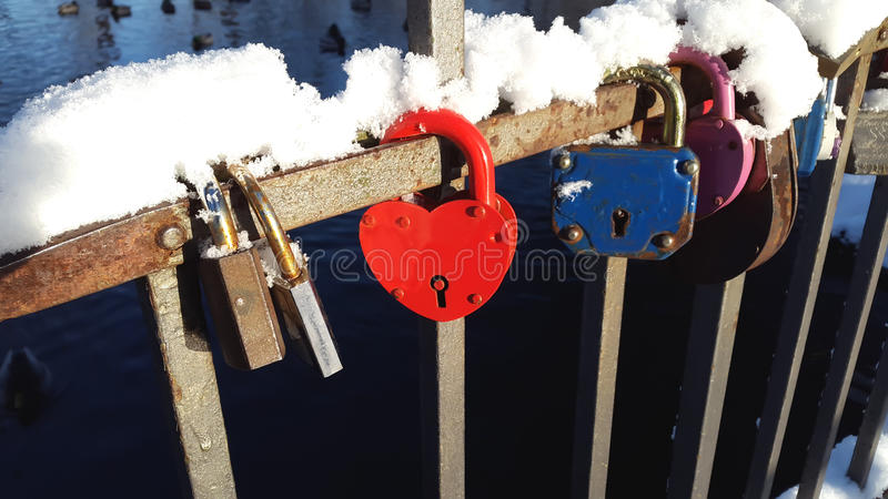 Love Forever. Red lock. stock photo