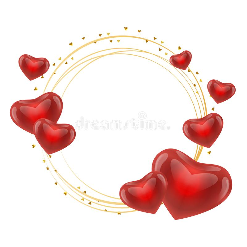 Free Love Frame With Hearts Gold Circle Vector Stock Photography - 138384272