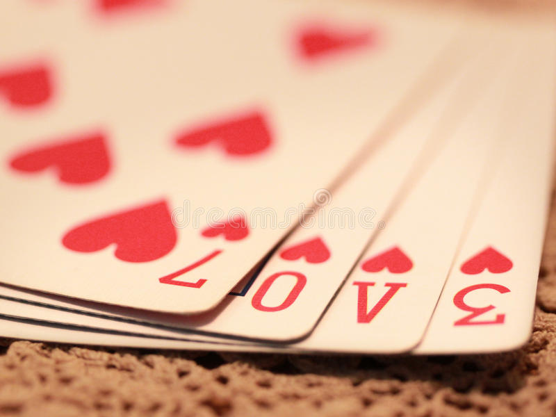 Love Game. Deck of playing cards royalty free stock photos