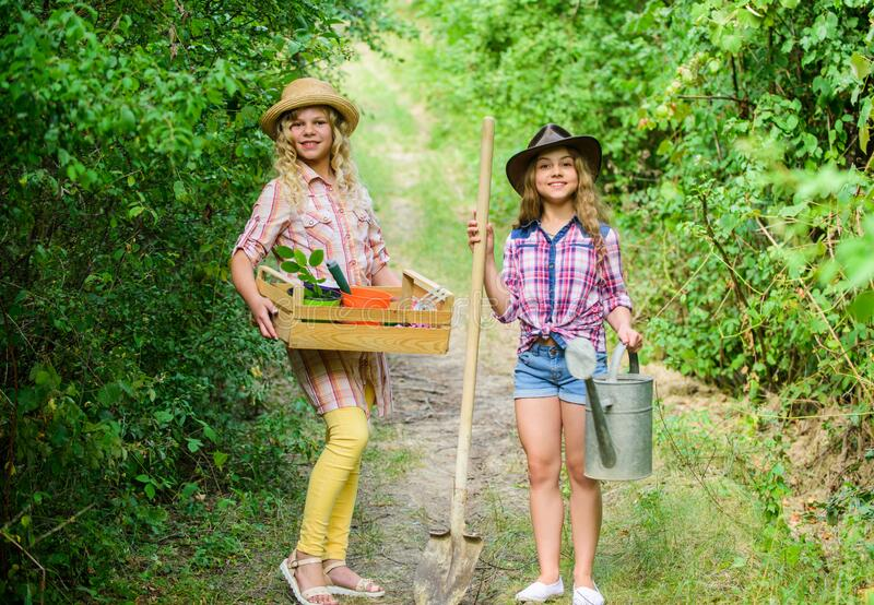 We love gardening. farming and agriculture. spring country side. earth day. summer family farm. ecology and stock photo