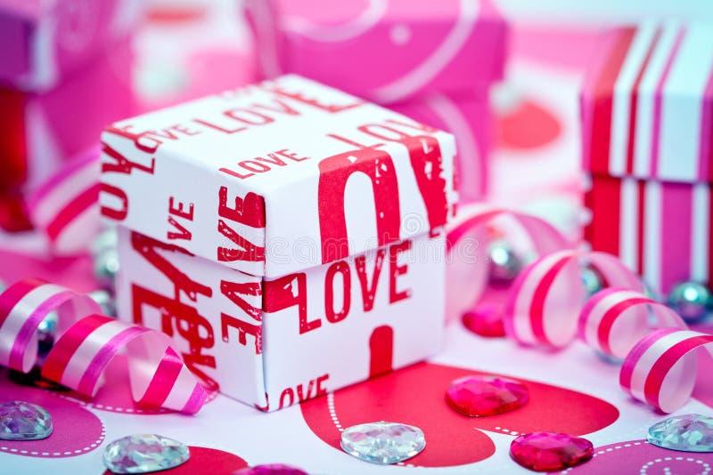 Love Gift Box And Ribbons Stock Photo