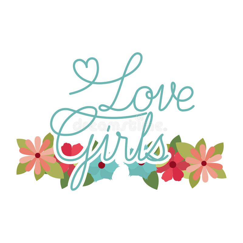 Love girl label with flower frame isolated icon stock illustration