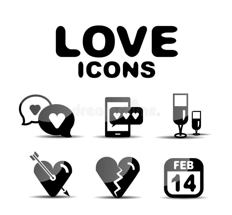 Love glossy icon set. Vector illustration