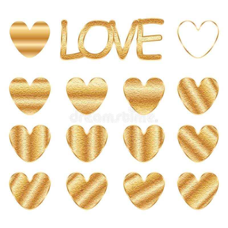Love golden stain set. This illustration is design love with gold stain in isolated object on white color background royalty free illustration