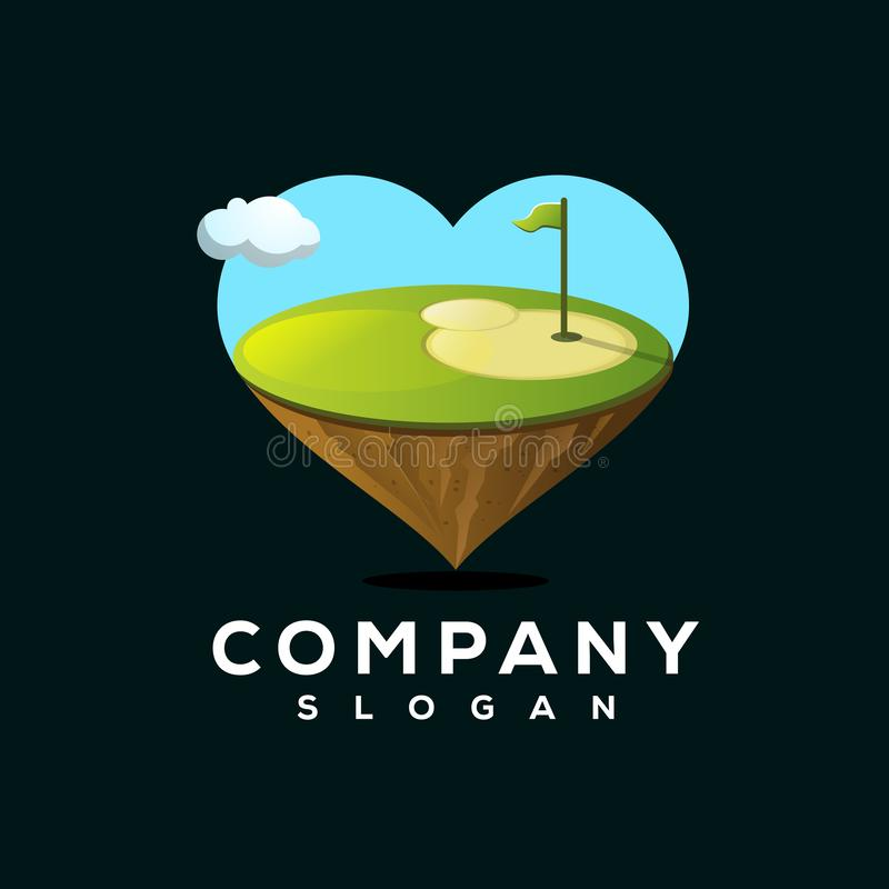 Love golf logo design ready to use vector illustration