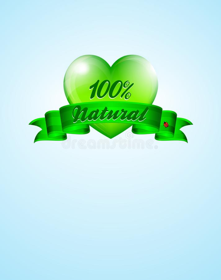 Love Green Heart Natural Background with Green Banner stock illustration