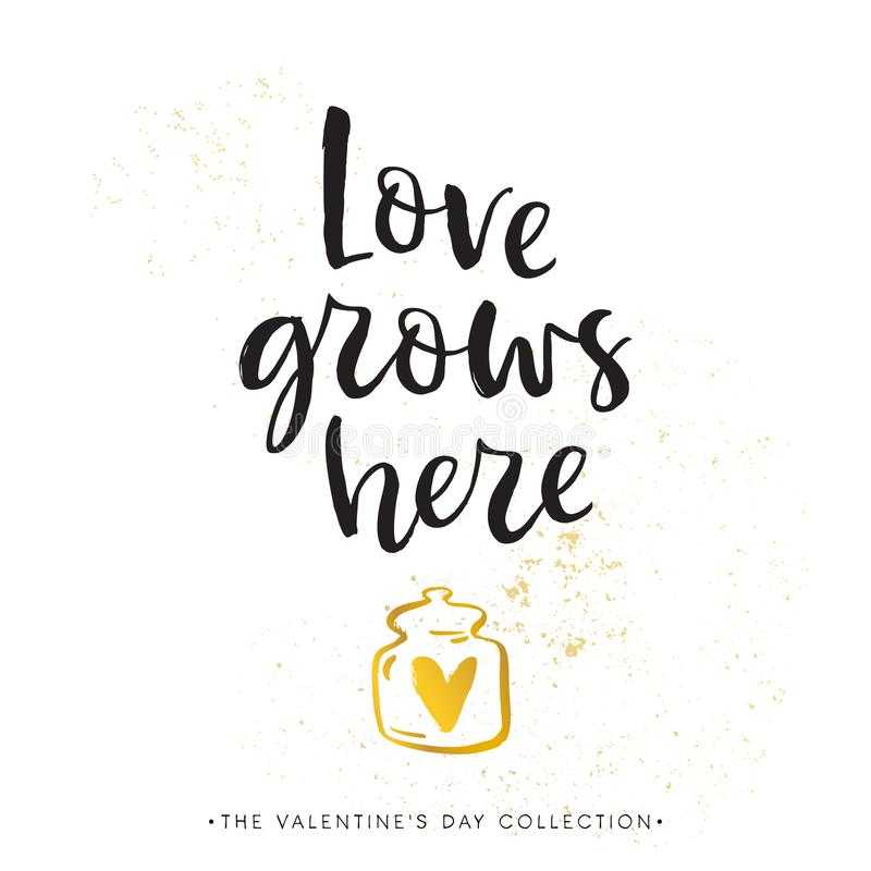 Love grows here. Valentines day calligraphy gift card. Gold hear royalty free illustration