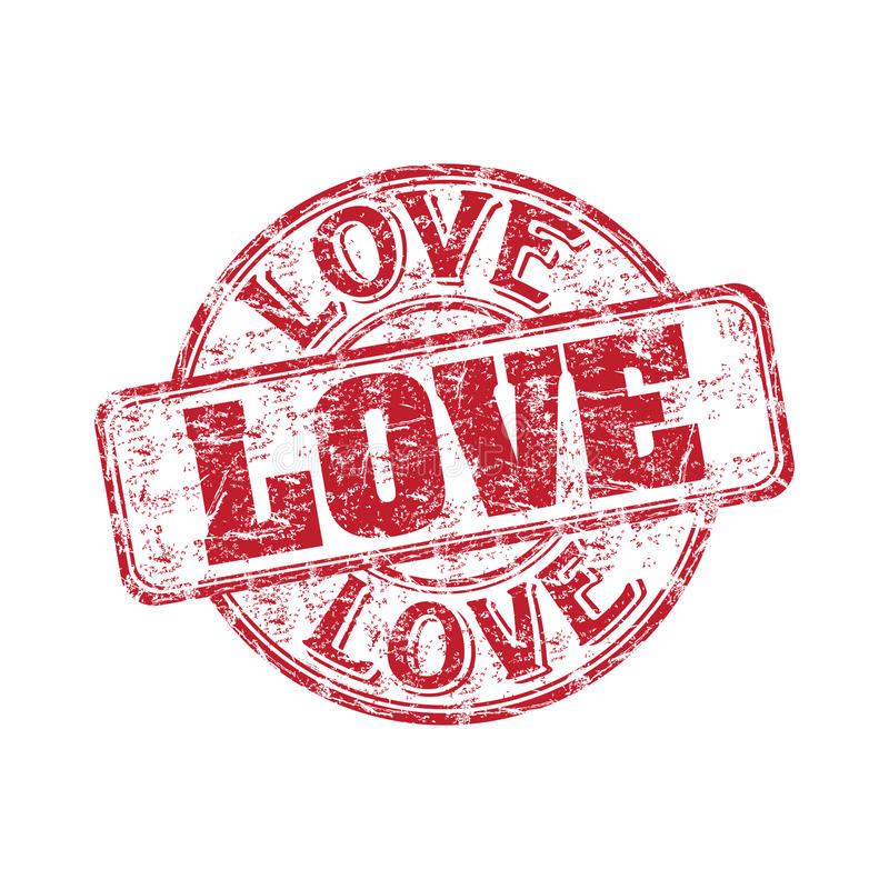 Love grunge rubber stamp stock illustration