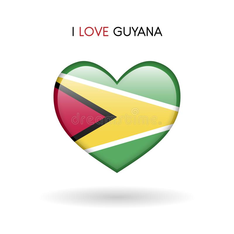 Love Guyana symbol. Flag Heart Glossy icon on a white background royalty free stock photos