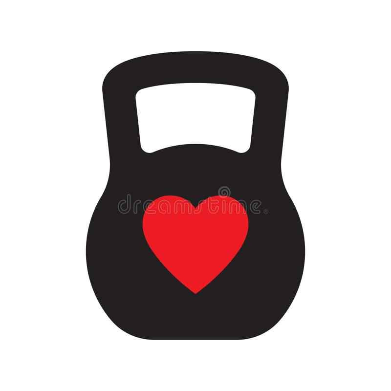 Love gym, love sport logo template with kettlebell and heart, vector illustration royalty free illustration